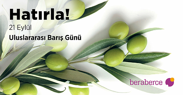 Olive branch. In Turkish: Remember! 21 September World Peace Day
