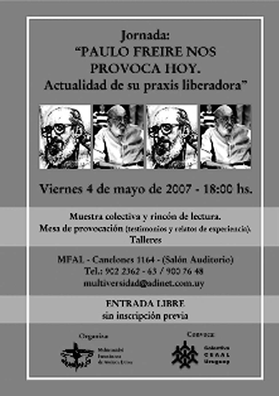 Jornada: Paolo Freire nos provoca hoy.