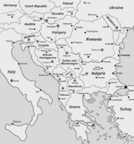 The map that is shown on the next side was produced before June 2006, when after a referendum in May 2006 Montenegro became an independent state. Kosovo declared independence on 17 February 2008.
